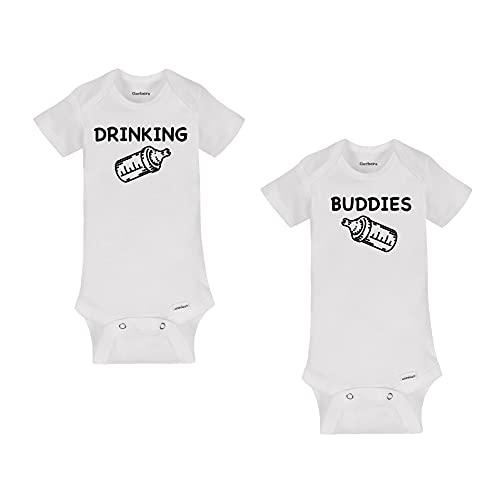 Drinking Buddies Twins Baby Onesies - White Organic Cotton (0-3 Month)