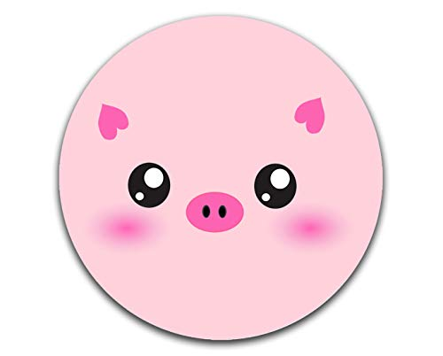 Mechanical Cattle Mouse Pad Gaming Mouse Pads, Pink Cute Cartoons Pig Design Mousepads, Round Mousepad for Laptop Desk Office Accessories with Non-Slip Rubber Base Computer Mat 7.9x7.9x0.12 inches
