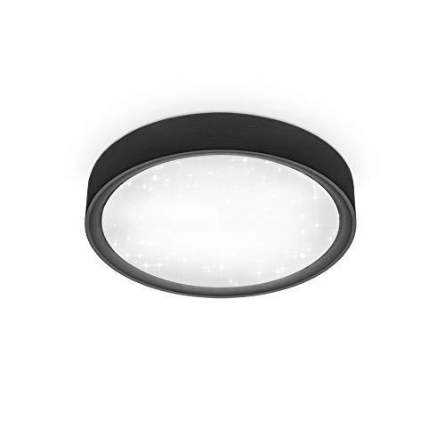 B.K.Licht I 12 W LED Sternen-Deckenleuchte I 4.000K I 25 cm Durchmesser I 1.200 Lumen I neutralweißes Licht I Schwarz-Matt