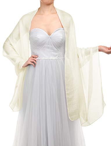 Gardenwed Damen Glitzerschal Scarves Stola 70 * 180CM Sommer Tuch Stolen für Kleider in 22 Farben Ivory