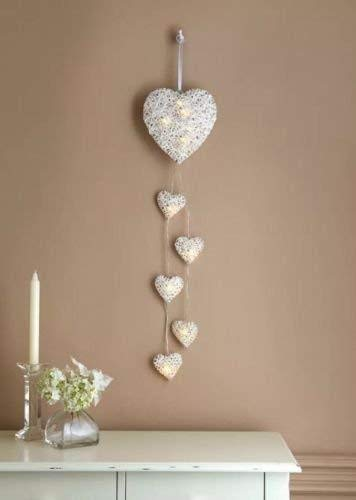 Rustikaler Shabby Chic 6x Wandbehang Wicker Hearts Led Lichterketten Batteriebetriebene Rattan Hearts Wandtattoos Valetine's Day Decoration