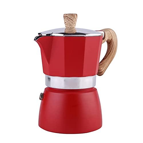Ekspres do kawy Aluminiowa Mokka Espresso Perkolator Garnek Coffee Maker Pot 3cup / 6Cup Plectop Ekspres do kawy Kuchnia Coffeeware (Color : Red 300ml)