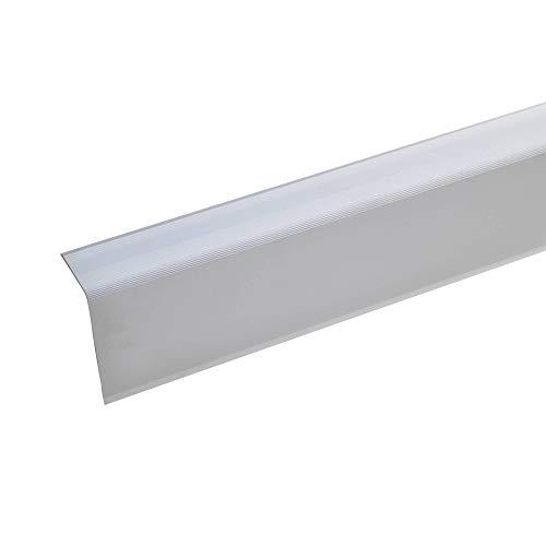 acerto 51088 Aluminium Treppenwinkel-Profil - 135cm 52x30mm silber * Rutschhemmend * Robust * Leichte Montage   Treppenkanten-Profil Treppenstufen-Profil aus Alu   Selbstklebendes Treppenkanten-Profil