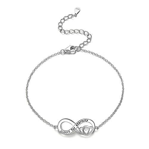 Silber Armband für Schwestern 925 Ewigkeit Schmuck Geschenk für Schwestern Geburtstag Weihnachten