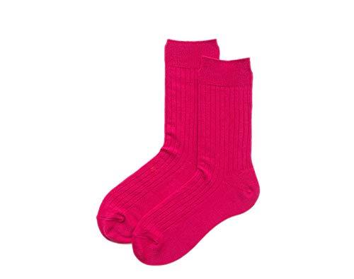 B/H kurzsocken Unisex,Trekkingsocken,Vertical Striped Tube Socks Basic Cotton Socks-Rose Red_2