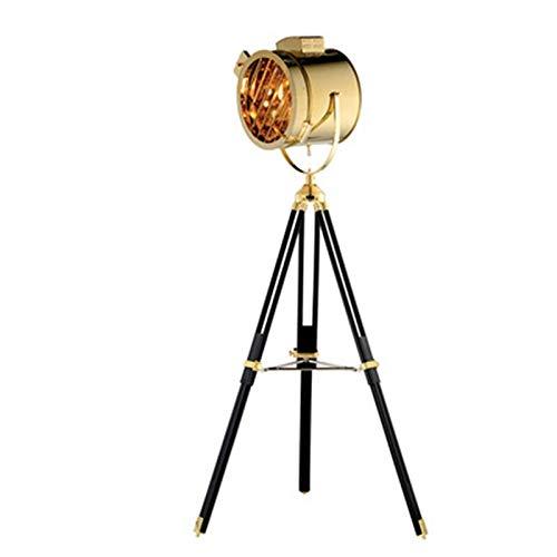 SPRINGHUA Oro Plata nórdico de madera Estudio retro trípode creativo Etapa luz del piso de la sala de estar Reflector de acero inoxidable Lámpara de pie (Lampshade Color : Gold)