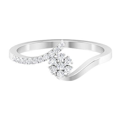 Rosec Jewels - Anillo de boda simple, anillo de flor de diamante HI-SI, anillo apilable de oro, 14K Oro blanco, Size:EU 52