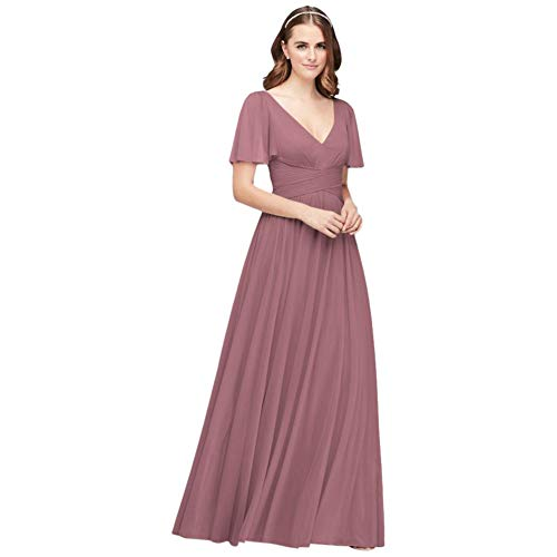 David's Bridal Flutter Sleeve Crisscross Mesh Bridesmaid Dress Style F19933, Quartz, 0