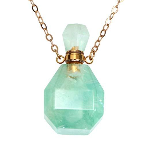 MILISTEN Collar Largo de Mujer Cristal de Piedras Preciosas Aroma Difusor de Aceite Esencial Botella de Perfume Collar Colgante para Mujer Joyería Irregular Verde