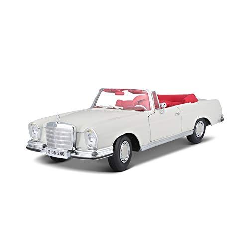 Maisto Mercedes 280SE, Modellauto mit Federung, Maßstab 1:18, Türen und Motorhaube beweglich, Fertigmodell, lenkbar, 24 cm, creme (531811)