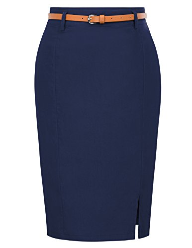 Kate Kasin Women's Stretchy Business Pencil Skirt for Office Wear Size S Navy Blue
