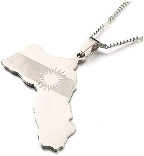 Liuqingzhou Co.,ltd Collar Mapa de Acero Inoxidable Collares Pendientes Mapa de Bandera Joyería