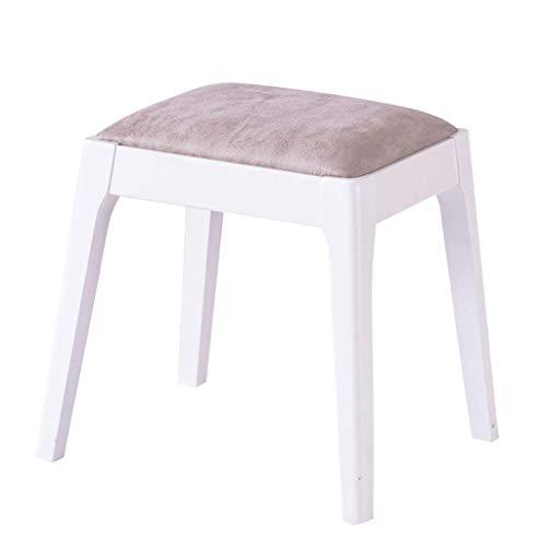 JYJD Hocker für Wohn- und Gartenmöbel, Eichenholz, gepolstert, mit PU-Leder, bequemes Kissen, für Wohnzimmer/Schlafzimmer, Weiß
