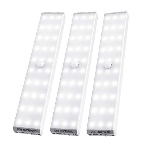 LED Closet Lights 3 Pack,Segaflux 30-LED Motion Sensor Under Cabinet Light,USB Rechargeable and Dimmable LED Under Counter Light,Cordless LED Strip Light, Stick-on Battery Operated Light Bar