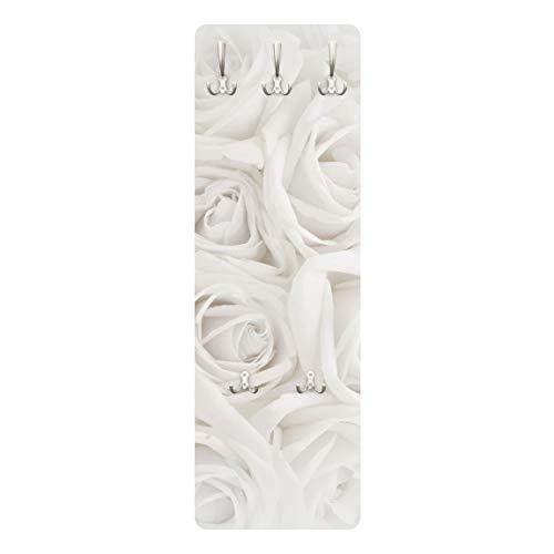 Bilderwelten Rosen Garderobe Flurgarderobe Blumenmotiv Weiße Rosen Landhaus Weiß 139 x 46cm