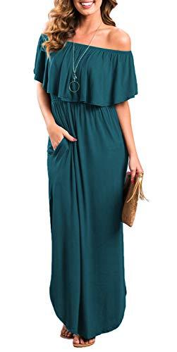 Womens Off The Shoulder Ruffle Party Dress Side Split Beach Long Maxi Dresses Acie Blue S