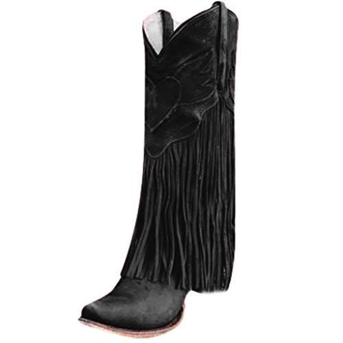 Yowablo Damen Stiefel Mode Wohnungen Quaste Spitze Zehe Schuhe mit niedrigen Absätzen Western Knight Stiefel (40 EU,Schwarz)