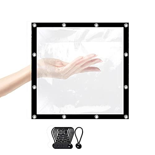 LJIANW lonas impermeables exterior, Lonas Transparentes Tarea Pesada Impermeable El Plastico Polietileno Con Ojales De Metal Transprent Cubierta Vegetal Pabellón Cubierta A Prueba De Lluvia, Tamaño Pe