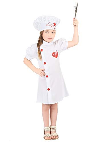 DEGUISE TOI - Déguisement Chef Cuisinier Fille - M 7-9 Ans (120-130 cm)