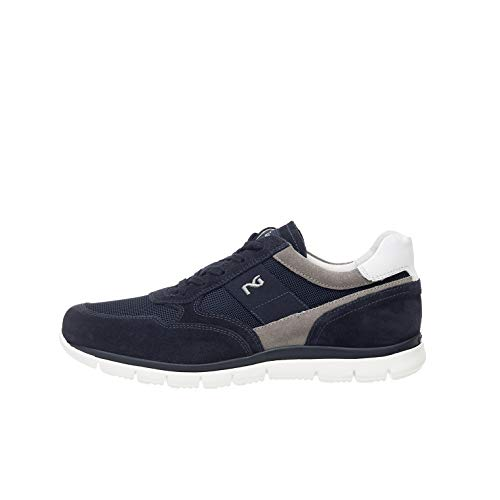 Nero Giardini P900840U Sneakers Uomo in Pelle, Camoscio E Tela - Blu 42 EU