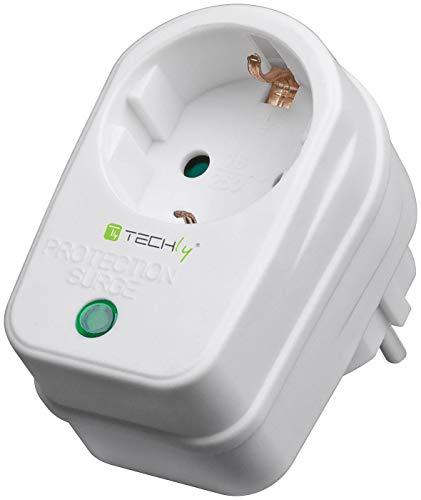 Techly 025121 Presa Schuko con Protezione Sovratensione Bianco