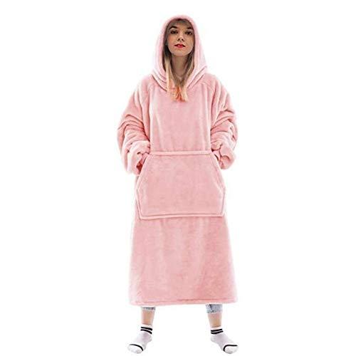 AleXanDer1 Manta con Capucha Manta De Suéter De Invierno Manta Perezosa Familia TV Sofá Casual Pijamas Capucha Blusa Nap De Cubierta Cubierta Manta (Color : Pink)