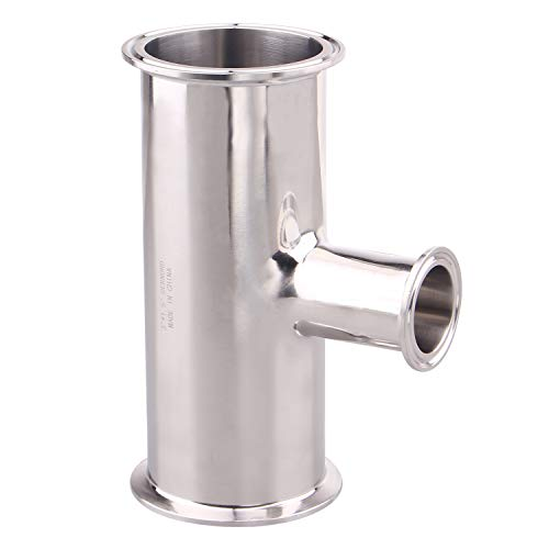 DERNORD Reducing Clamp Tee 3 Way Stainless Steel 304 Sanitary Fitting (3 inch x 3 inch x 1.5 inch)