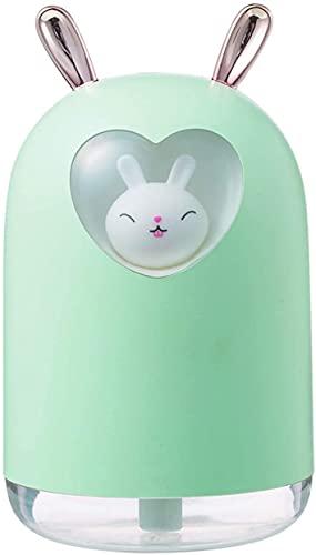 lndytq Humidificador de Plantas Humidificador de Aire de Conejo 300ML Cute Pet Cool Mist Difusor de Aceite de Aroma Lámpara LED de Color romántico Humidificador USB (Color: Pink)