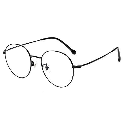 Cyxus Gafas con bloqueo de luz azul para ordenador anti fatiga visual, lentes transparentes, gafas de titanio para hombres y mujeres (Negro-1)