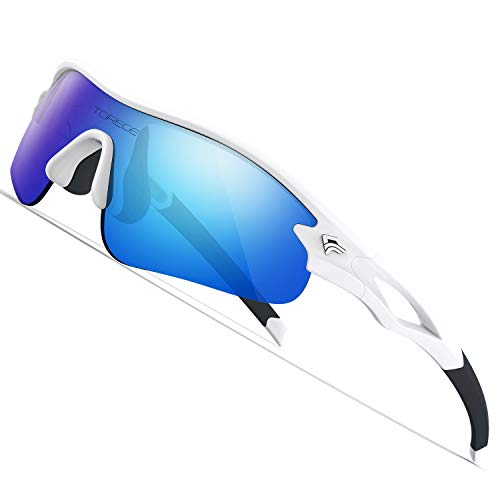 TOREGE Kids Sports Polarized Sunglasses for Junior Boys Girls Age 3-9 Grilamid TR90 Flexible Frame Glasses for Youth Polarized UV Protection TR22 REMEX (White&Black&Blue Lens)