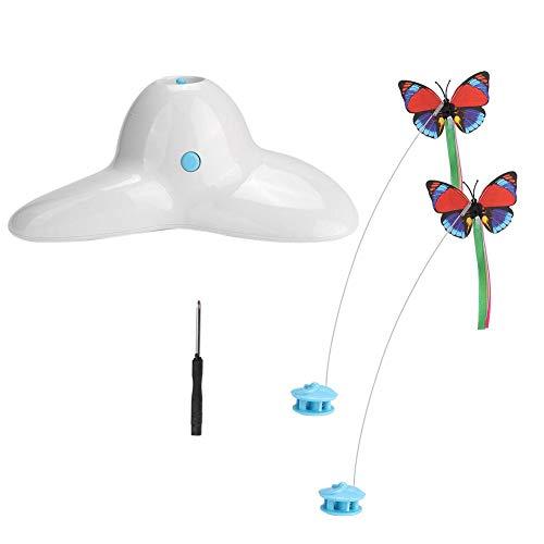 Elektrische rotierende Schmetterling Katzenspielzeug, Pet Kitten Interactive Chaser Teaser Zauberstab Bewegungsspielzeug Elektrisches Flattern Rotierendes Insekten-Teaser-Spielzeug für Katzen(Weiß)