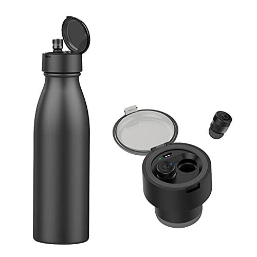Staright Fone de ouvido 2 in1 BT 5.0 Fone de ouvido sem fio Fone de ouvido esportivo 600ml Garrafa de água esportiva de aço inoxidável para exterior