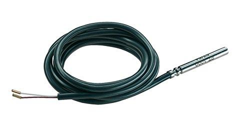 Sonda de temperatura PT10001,5m - Silicona - Para instalación solar y calefacción - Punta de 6mm, câble 1,5m capteur diam 6/50mm, Negro , 100