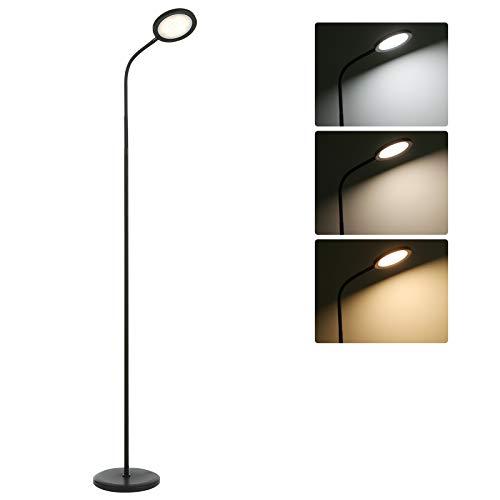 Lámpara de pie de 15 W que admite el toque para ajustar la luminosidad y la temperatura del color para salón, dormitorio y otras habitaciones [Clase de eficiencia energética A+]