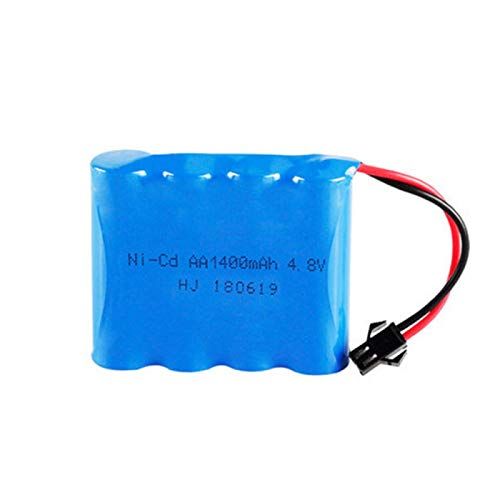MeGgyc Batería Recargable de 4.8v 1400mah para Juguetes RC Cars Robots 4 * AA 4.8V Battery Pack 1Pcs para Barcos RC White