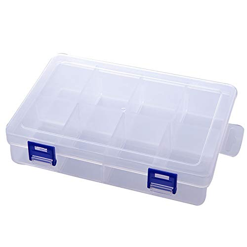 Plastic Compartment Box with Adjustable Dividers Craft Tackle Organizer Storage Containers Box 8 Grids