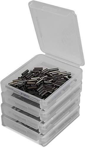 Storfisk fishing & more 4 x 100 Stück Klemmhülsen Quetschhülsen Sortiment in Kunststoffbox für Angelmontagen (Hardmono- und Stahlvorfächer), Größe:Groß