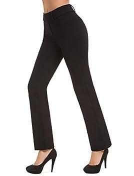 Bamans Women's Bootcut Pull-On Dress Pants Office Business Casual Yoga Work Pants with Key Pocket Straight Leg  Black Medium