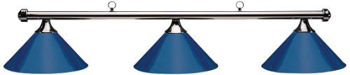 Hj Scott Billiard Table Light with Gunmetal Bar and 3 Blue Painted Metal Shades, 55-Inch