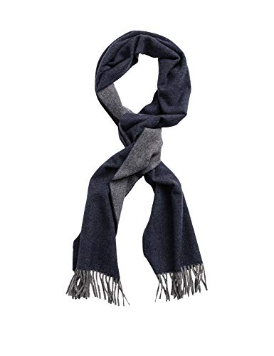 GANT Herren Schal Wollschal Two Faced Twill Scarf aus Wolle in Blau/Grau