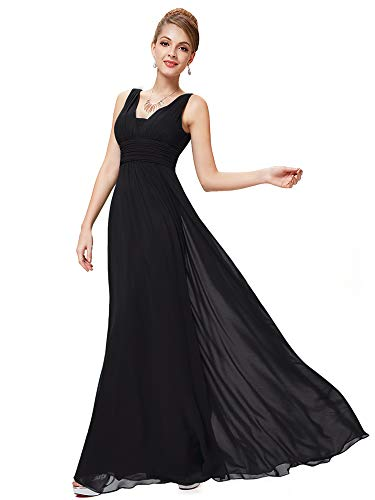 Ever-Pretty Womens Long Chiffon Wedding Dresses for Guests 6US Black