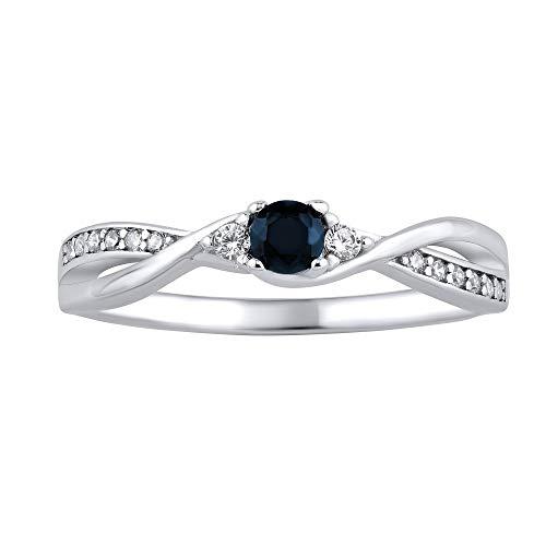 SILVEGO Damen Ring aus 925 Sterling Silber mit echtem Saphir