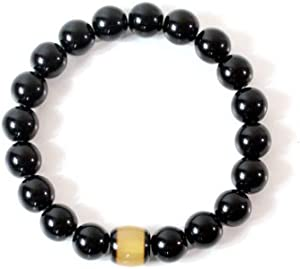 SX Commerce Natural Obsidian Bracelet Black Natural 10MM Stone with a Unique Beeswax Bucket Beads Good Gift for Men and Women