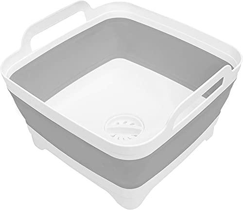 TXXM Fregadero/lavabo plegable gris con tapón de drenaje, capacidad de agua de...