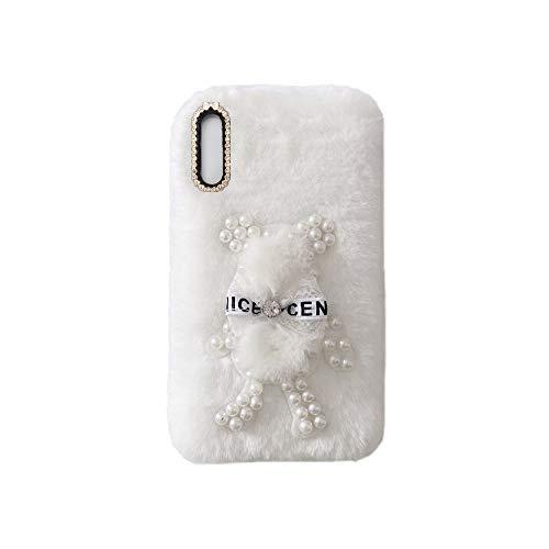 YHY Funda Teléfono Pearl Bear Plush para ZTE Blade A5 2020 Carcasa De Felpa De Silicona Suave y Elegante La Piel Blanco
