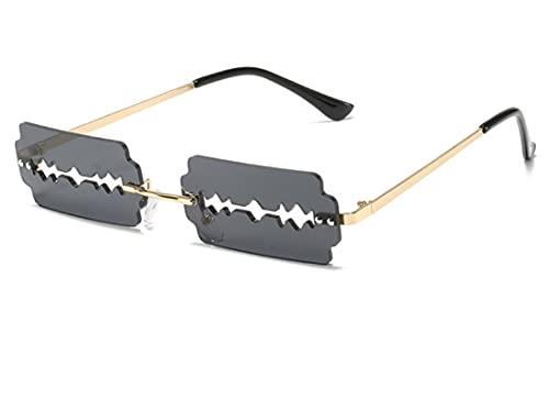 WANGZX Gafas de Sol para Mujer únicas Gafas de Sol para Mujer con Personalidad en Forma de Navaja Gafas de Sol de Moda para la Calle Uv400 GoldGray