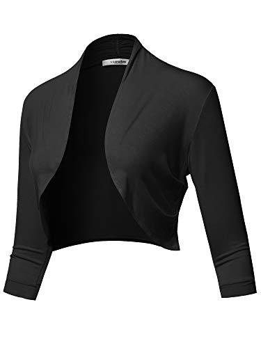 SSOULM Women's 3/4 Sleeve Open Front Bolero Shrug Cardigan Black XL