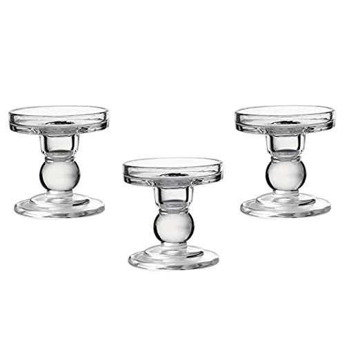OYATON Glass Candle Holders for 3 inches Pillar Candle or 7/8 inch Taper Candle, Candlestick Holder Set of 3 for Wedding or Home Decoration(Exclude Candles) …