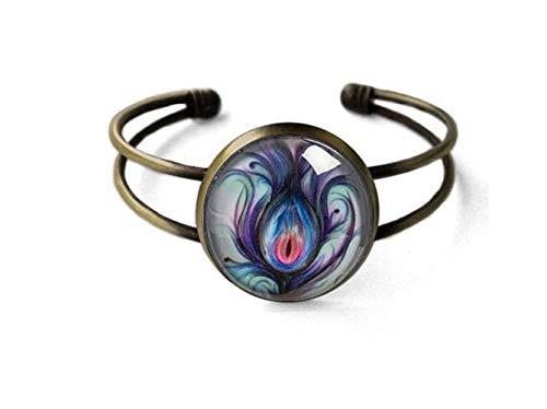 Sunshine Pulseras de joyería, pulseras de plumas de pavo real, idea de regalo