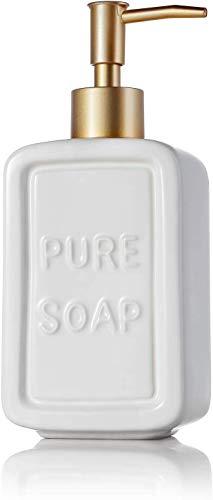 TPFOON Distributore di Sapone in Ceramica - Capacità: 450 ML, 8 x 6 x 19.2 cm, Dispenser di Sapone pour Lozione, Liquido Lavamani, Bagno, Cucina(Bianco)